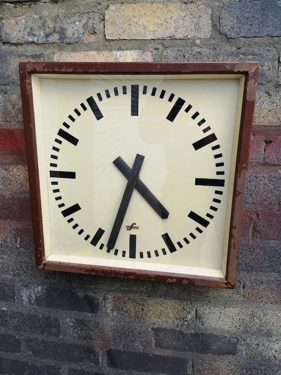 Large 1950's East German Industrial Factory / Office Clocks By Elfema