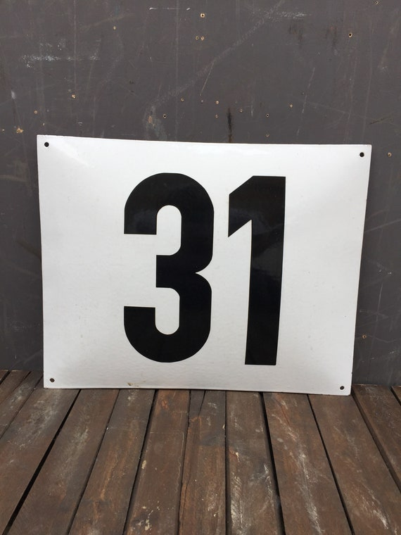 Early 1900's Large German Enamel Number 31 House Number Plate