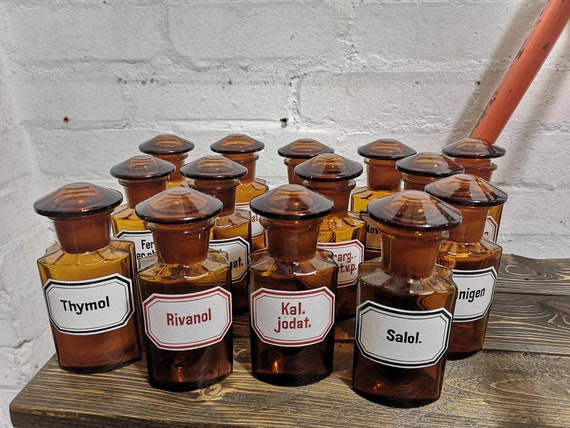 Early 1900s German Amber Apothecary Bottles