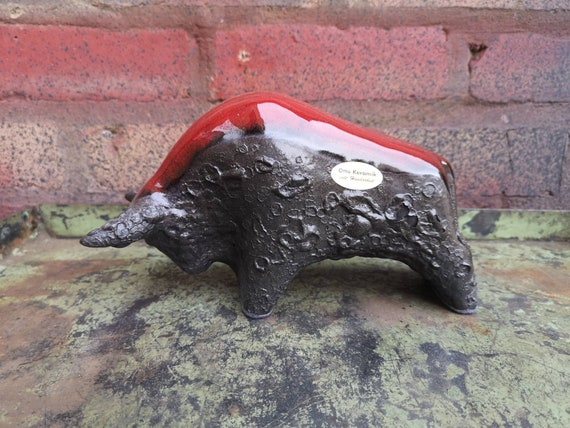Otto Keramik Ceramic Bull West German Pottery Fat Lava Ruscha Bull