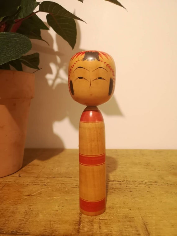 Vintage 1950s Kokeshi Japanese Wooden Hand Painted Doll