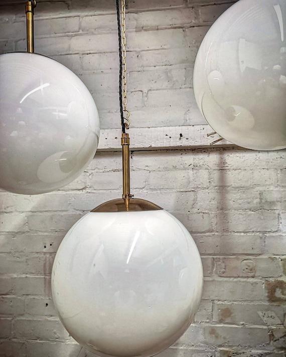 1960s Opaline Glass Globe Pendant Light