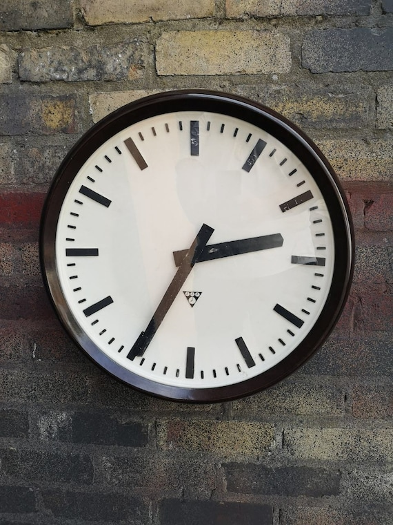 Large 50cm Czech 1960's Bakelite Office / Factory Clocks By Pragotron