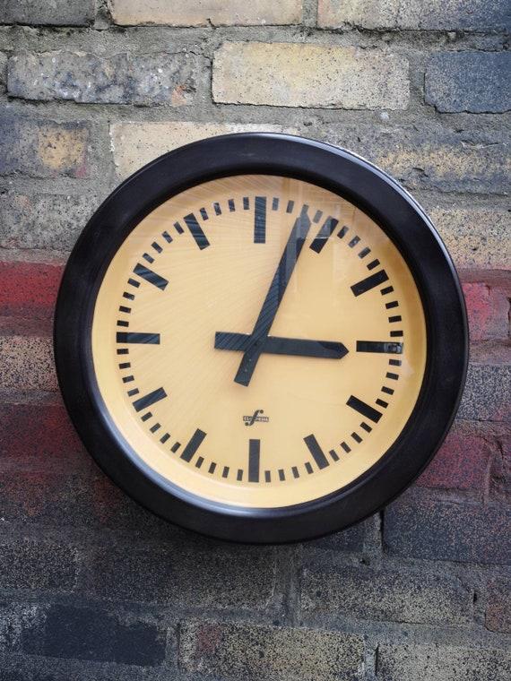 Large 1950s Bakelite East German Modernest Factory Clocks By Elfema