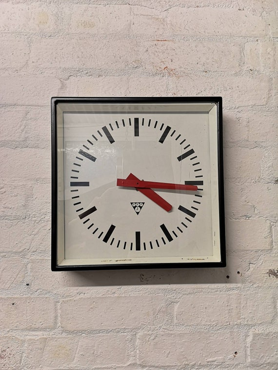 Czech Industrial 1960's Square Factory Clocks By Pragotron