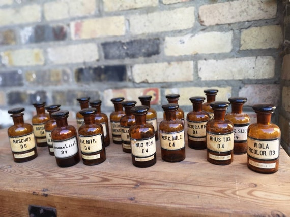 Vintage German 1950s Amber 100ml Apothecary Homeopathy Bottles