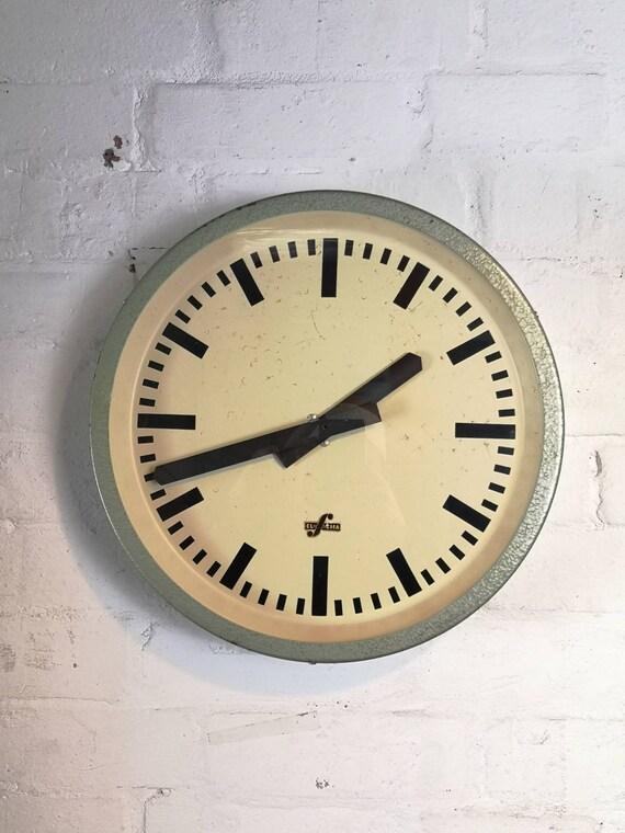 1950's East German Industrial Factory / Office Clocks By Elfema
