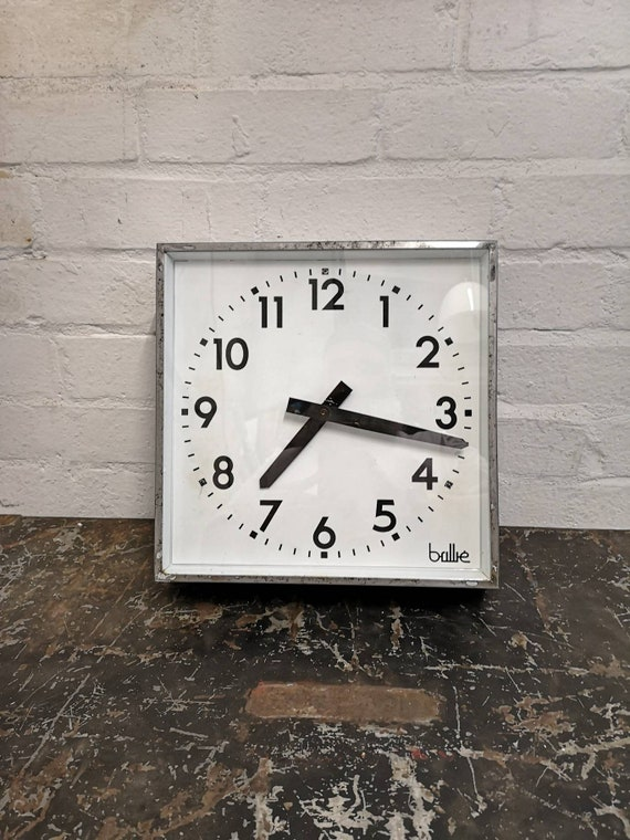 1950s Square French Factory Clocks By Brillie