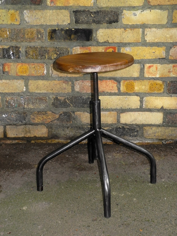 Mid Century Polish Height Adjustable Machinests Stool