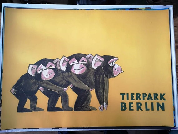 Vintage 1970s Tierpark Berlin Original Zoo Poster Advertising Of Baby Chimpanzees