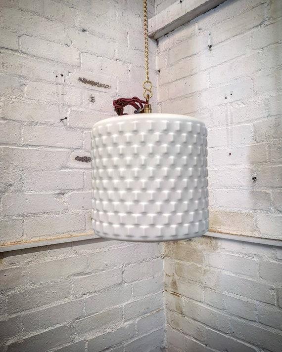 1960s Czech Cubic Effect Opaline Glass Pendant Light