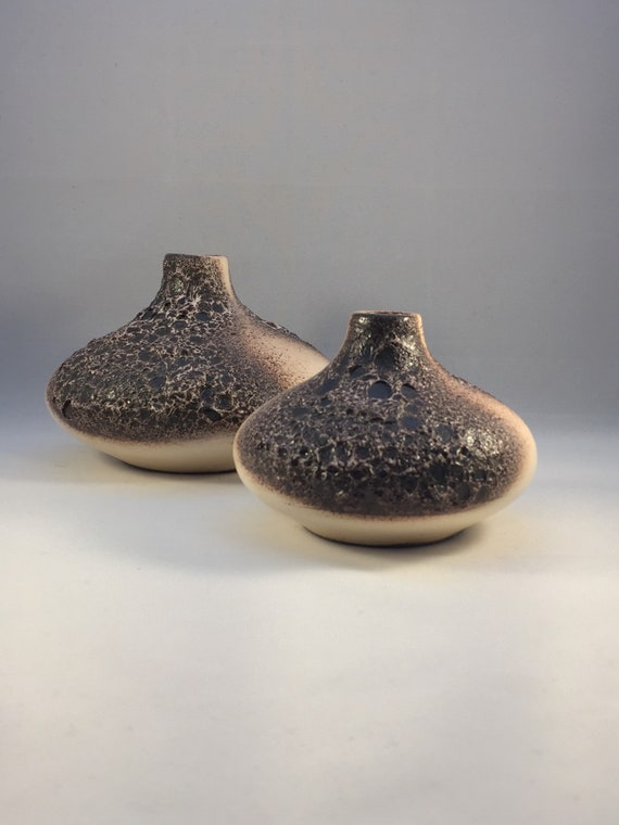 Pair Of Otto Keramik Ceramic UFO Vases  West German Pottery Fat Lava