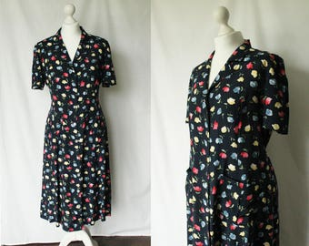 Vintage floral print shirt dress / dark blue floral print dress