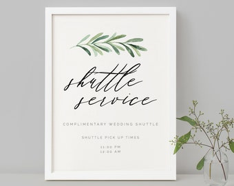 Wedding Shuttle Service Sign Template Editable Greenery