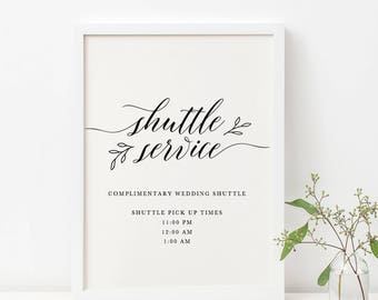 Wedding Shuttle Service Sign Template Complimentary Printable Editable