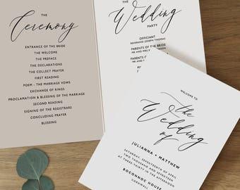 Folded Wedding Program Template, Folded Wedding Programs Instant Download, Program Printable, Editable Wedding Program Template - KPC10_215