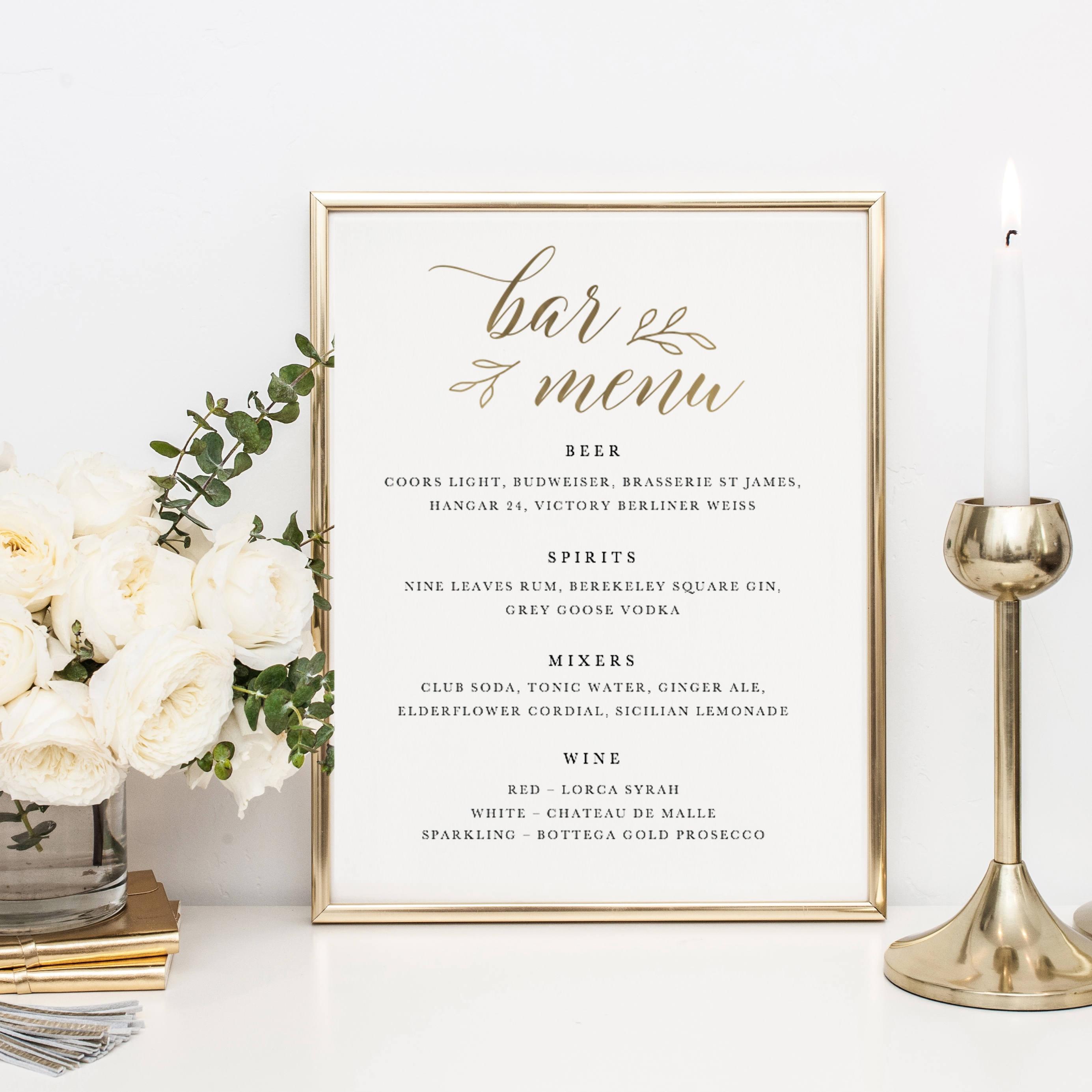 wedding bar menu template drink sign printable bar menu | etsy