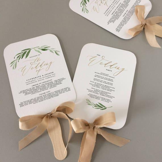 fan wedding program template fan wedding programs instant etsy