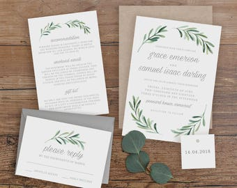 Editable Wedding Invitation Template, Printable Wedding Invitation, Wedding Invitation Printable, Wedding Invitation Download - KPC02_102
