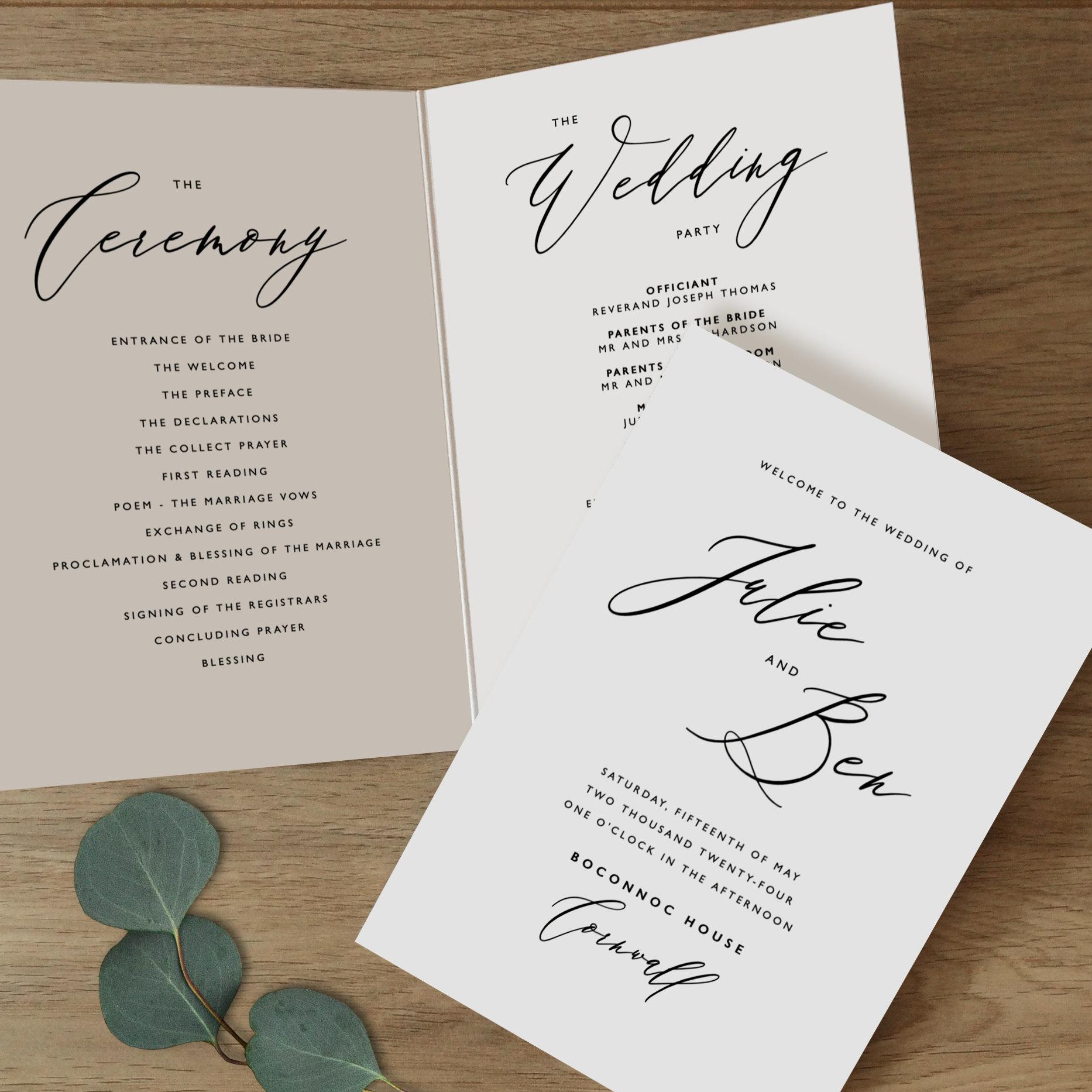 Wedding Brochure Ideas: Folded Wedding Program Template Folded Wedding Programs
