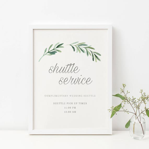 wedding shuttle service sign template complimentary shuttle etsy