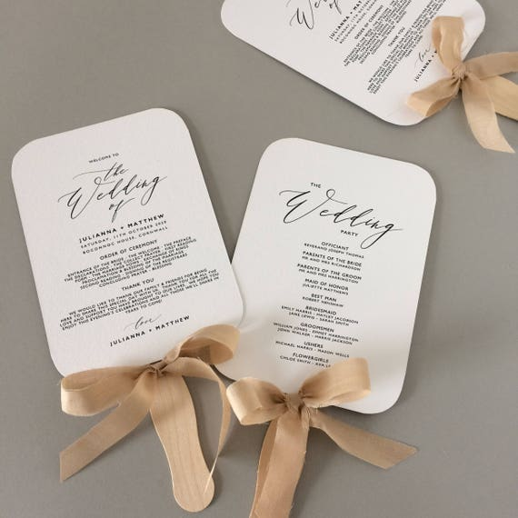 fan wedding program template fan wedding programs instant etsy