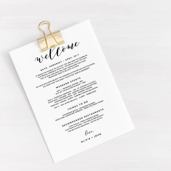 Wedding Itinerary Template, Printable Itinerary, Wedding Itinerary Card,  Wedding Welcome Bag, Wedding Timeline Printable - KPC01_105