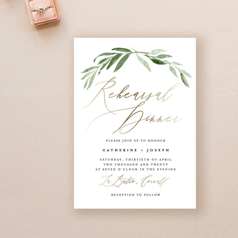 Wedding Rehearsal Dinner Printable Invitation Template Gold Greenery Invite Download KPC11 503