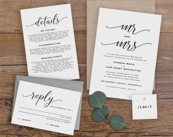 Editable Wedding Invitation Template, Printable Wedding Invitation, Wedding Invitation Printable, Wedding Invitation Download - KPC07_102