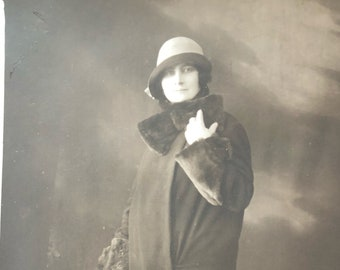 1929 Woman in Hat Real Photo Postcard
