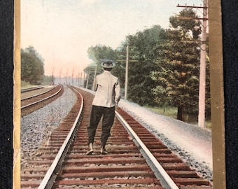 1909 Coming Home by Rail Postcard