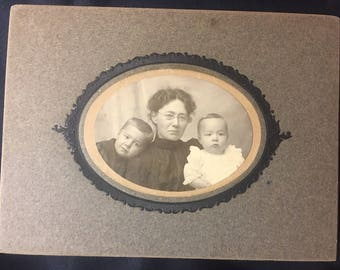 1890s Mother and Kids Cabinet Card