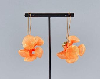 Large Orange Earrings, Funky Earrings, Avant Garde Jewelry, Fabric Earrings, Chunky Earrings, Unique Statement Earrings, Textile Earrings