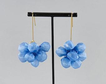Unique Blue Earrings, Funky Earrings, Statement Accessory, Fabric Earrings, Large Blue Earrings, Statement Blue Earrings, Long Blue Earrings