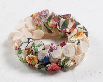 Flower Choker Necklace, Flower Collar Necklace, Fabric Jewelry, Fabric Necklace, Textile Necklace, Avant Garde Necklace, Shibori Jewelry