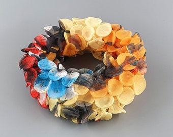 Unique Statement Necklace, Avant Garde Necklace, Fabric Necklace, Fabric Jewelry, Avant Garde Jewelry, Colorful Necklace, Necklace Scarf