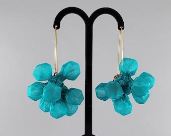 Fabric Earrings, Avant Garde Jewelry, Bohemian Jewelry, Statement Earrings, Unique Earrings, Long Earrings, Turquoise Earrings