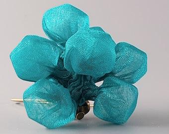 Large Turquoise Earrings, Fabric Earrings, Fabric Jewelry, Chunky Earrings, Long Turquoise Earrings, Large Fabric Earrings, Avant Garde