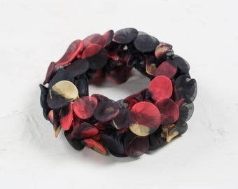 Infinity Scarf, Chunky Scarf, Chunky Necklace, Black & Red Chiffon Scarf, Textile Jewelry, Shibori Scarf, Gift For Mom, Wearable Art, Collar