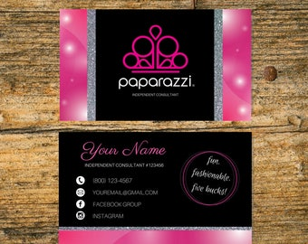 Paparazzi business cards etsy printable paparazzi business cards fast free personalized paparazzi jewelry consultant card pink glitter digital custom paparazzi colourmoves