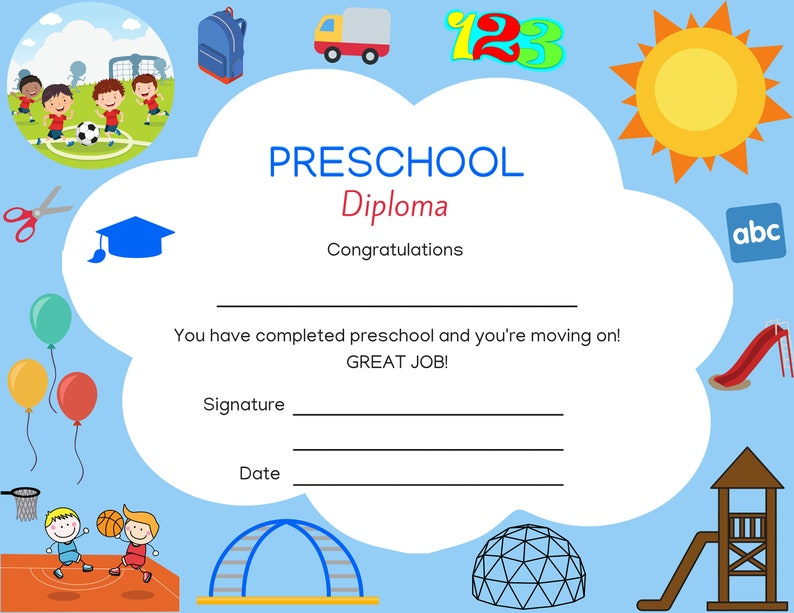 photo relating to Printable Preschool Diplomas identified as Preschool Commencement Degree Instantaneous Down load Printable Degree