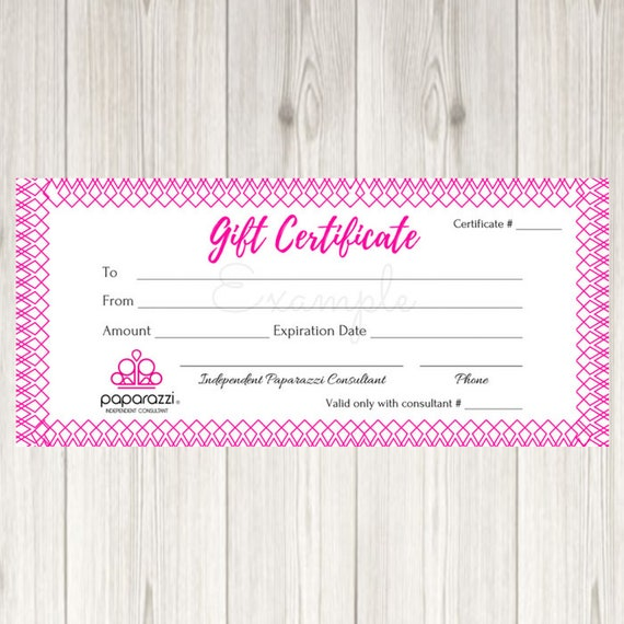 paparazzi gift certificate printable instant download etsy