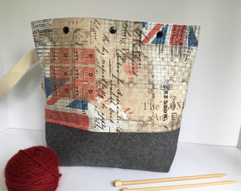 THE BRITISH are COMING!  Royal Wedding Watcher?  Get your knitting ready with this generous size project bag.