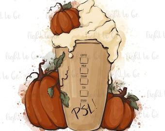 Pumpkin Spice Latte PNG, Halloween Funny fall coffee Starbucks, warm cozy autumn, orange download, Sublimation design drawn Graphic Tshirt