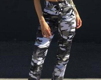 dd5458ecade0b Authentic Vintage Army Camouflage Cargo Pants, Button Fly Unisex Camo Pants //Women's Men's Size Small Medium Waist 25 26 27 28 29