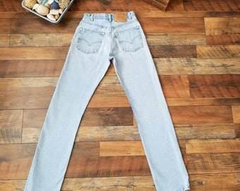 45b7f32682e Levi s 505 Light Wash Blue Highwaisted Jeans Made in the USA Straight Leg  Tall Long Jeans    Women s size 24 00 XXS