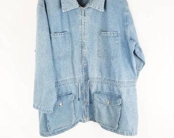 14d6acdfe3d99 Vintage Oversized Slouchy Denim Venezia Jeans Jacket Women Plus Size Jean  Jacket  Womens size 22 24