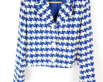 Houndstooth Silk Crop Jacket Woven Cropped Silk Blazer//Women's size L Large