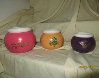 Three African Violet vases