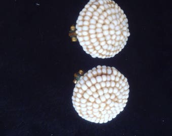 Cute vintage bead earrings. Like little white snowballs.